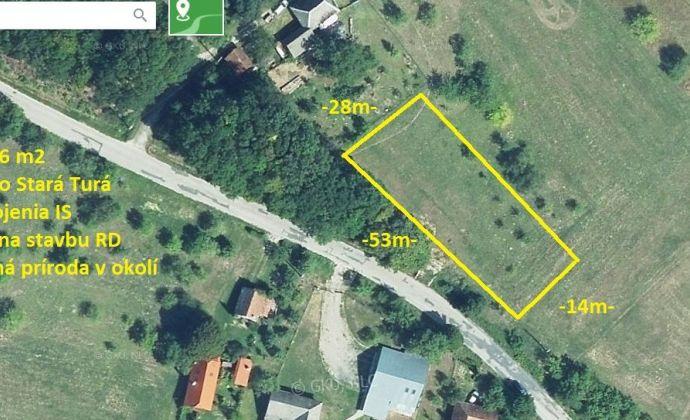Stavebný pozemok 1086 m2, Stará Turá - Papraď.