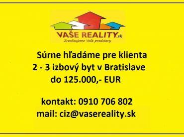 Kúpa 2-3 izbový byt Bratislava, Pezinok