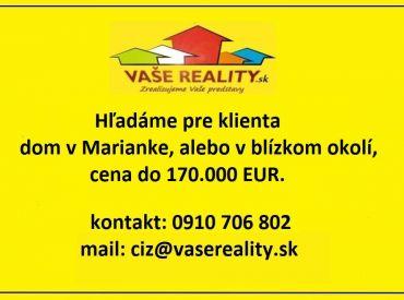 Kúpa domu v Marianke, platba v hotovosti