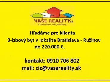 Kúpa 3-izbového bytu, Bratislava - Ružinov