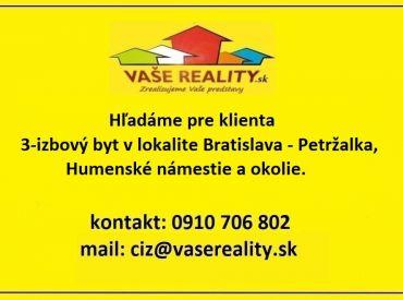 Kúpa 3-izbového bytu, Bratislava - Petržalka, novostavba