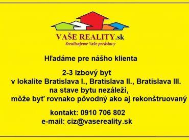 Hľadáme na kúpu 2-3 izbový byt, Bratislava I.,II.,III