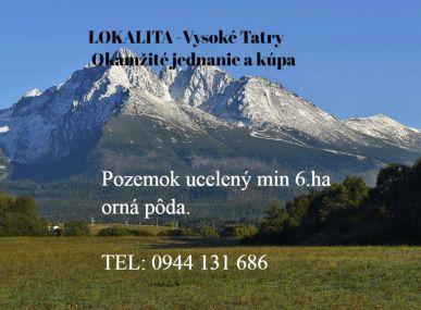 Vysoké Tatry-pozemok-orná pôda