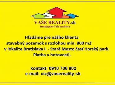 Kúpa pozemku v Horskom parku od 800 m²