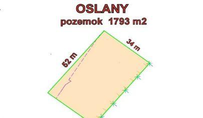 OSLANY , pozemok, rozloha 1793 m2