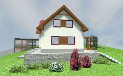 Nízko energetická a pasívna drevostavba, na pozemku 632  m2, 15 km od Banskej Bystrice – cena na kľúč je 204 000€
