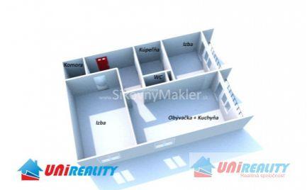 BÁNOVCE NAD BEBRAVOU - 2 izbový byt- veľkometrážny prerobený na 3i / DUBNIČKA / kompletná rekonštrukcia