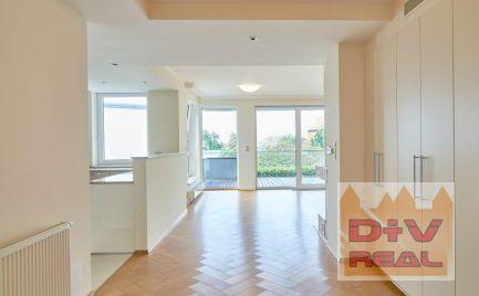 D+V real ponúka na prenájom: 4 izbový byt, Mudroňova ulica, Diplomat park, Bratislava I, Staré Mesto, výhľad na mesto a na hrad, terasa, parkovanie, výťah