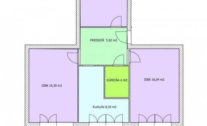 Na predaj 3 izbový byt + kuchyňa + balkón, RUŽINOV  Muškátová , pôvodný stav