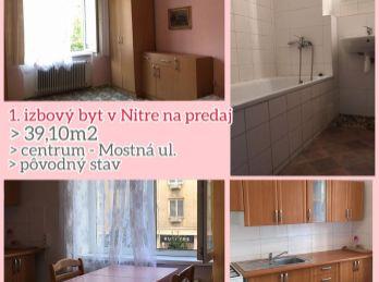 Predaj veľkometrážneho1.izb bytu v Nitre v centre v tehlovej bytovke
