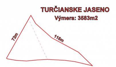 TURČIANSKE JASENO pozemok na rekreačné účely 3600m2, okr. Martin