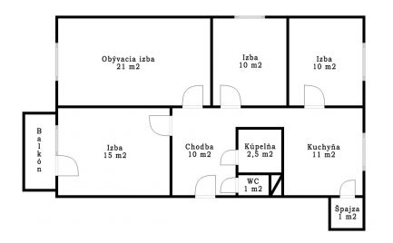 Rezervované - 4 izbový byt v pôvodnom stave  v Senici