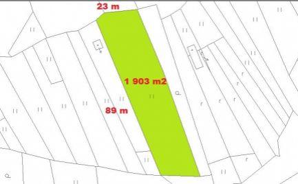 Stavebný pozemok 1 903 m2, Tajov, pri  B. Bystrici - Cena 39 €/ m2