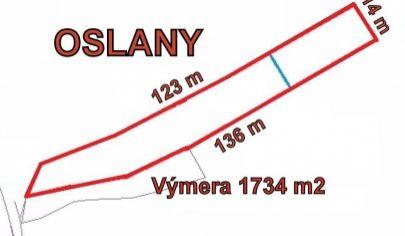 OSLANY  pozemok 1734m2, v peknom prostredí okr. Prievidza