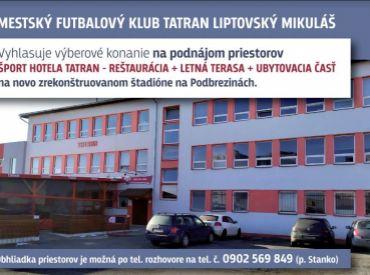 Výberové konanie na podnájom priestorov MFK Tatran Liptovský Mikuláš