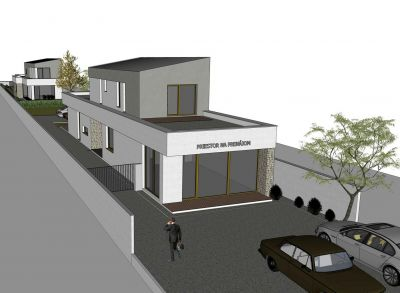 Ponúkame na preda  veľký 3 izbový rodinný dom vo Veľkom Bieli pri jazere s obchodným priestorom, NOVOSTAVBA