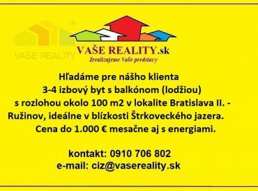 Hľadám do prenájmu 3-4 izbový byt, 100 m2, Bratislava - Ružinov