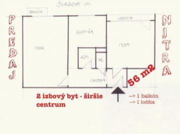 Predaj 2.izb bytu v Nitre v centre s dvomi balkónmi
