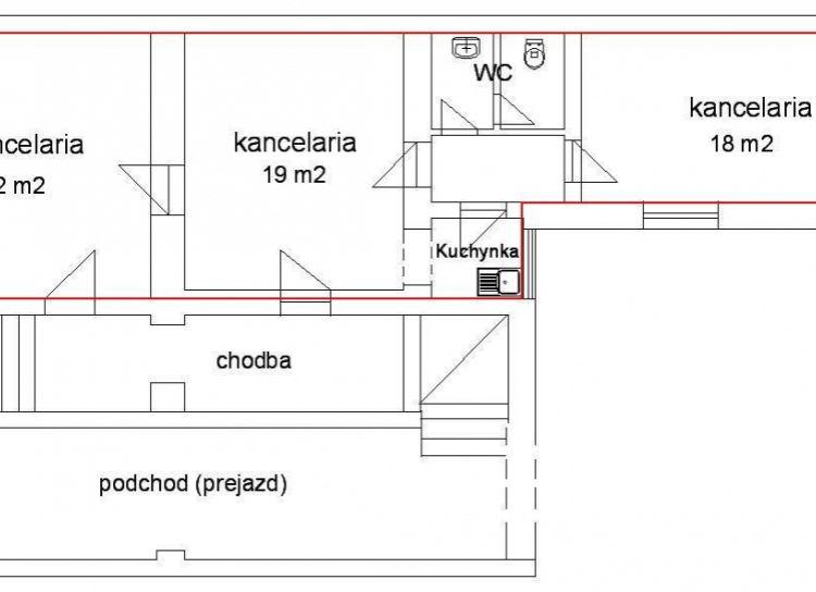 Kancelária na prenájom 68 m2, centrum Žiliny