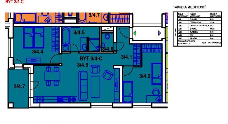 Na predaj 3i byt v Bánovciach n/B- sídlisko Sever s balkónom