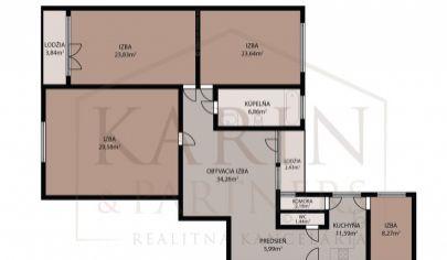 Veľkorysý  5 izbový byt 163,5 m2 oproti Medickej záhrade, Bratislava – Staré Mesto