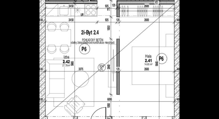 2 - izbový byt v unikátnom projekte bytového komplexu TREENIUM
