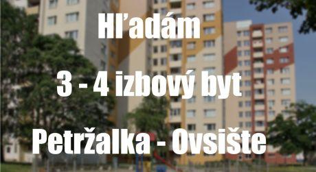 Predávate 3 izbový byt v lokalite Petržalka - Ovsište? Máme pre vás klienta...