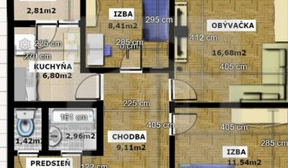 Na predaj 3.izbový byt Petržalka, Furdekova.