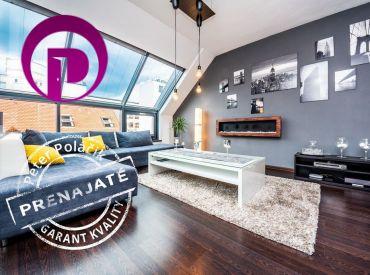 PRENAJATÉ - 3i BYT– BA I: 96m2 veľkometrážny, luxusný strešný byt s nadštandardným vybavením a veľkým balkónom.