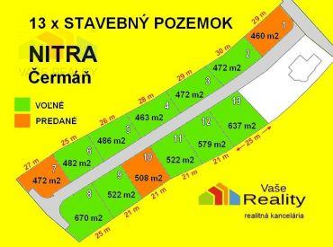 Predám STAVEBNÉ POZEMKY 522 m2 NITRA - Hornočermánska