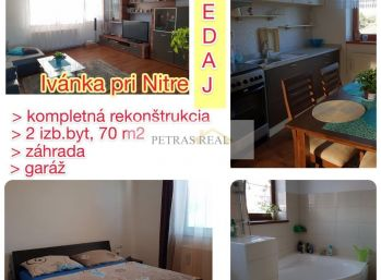 PREDANÝ zrekonštr.2.izb. byt, záhradka, garáž v Ivánke pri Nitre