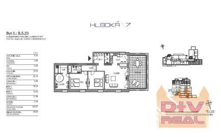 3 izbový byt, Hlboká ulica, Bratislava I, Staré Mesto, nezariadený,  zimná záhrada 31m2, parkovanie, na prenájom