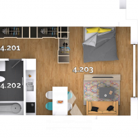 1 izbový byt, Kvetoslavov, 43.42 m², Vo výstavbe