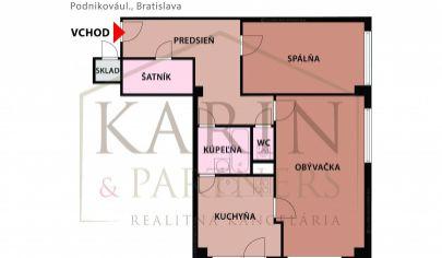 Na predaj veľký, svetlý 2 izb. byt, BA - Nové Mesto