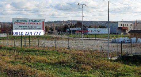 Pozemok 1900 m2 - prenájom, Vrádište