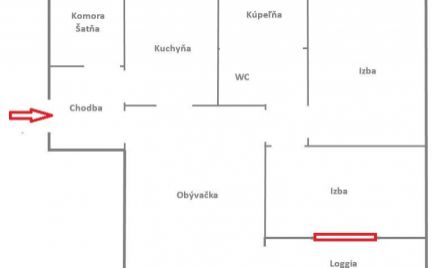 Exkluzívny 3  izbový byt, 70 m2,  typu Bauring s lodžiou,  Banská Bystrica, kompletná rekonštrukcia - cena  138 000€