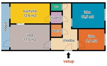 Na predaj 3 izbový byt s garážou, Krosnianska ul., Košice III.