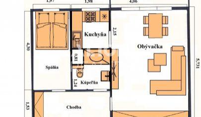 Na predaj 2 garsónka DeLuxe (48 m2 + balkón 4,5m2) v prednej časti Petržalky.