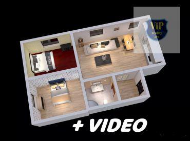 ViP video 3D. Byt 3+kk, 71 m2, tehlový, kompletná rekonštrukcia, zariadený - Banská Bystrica - Sídlisko