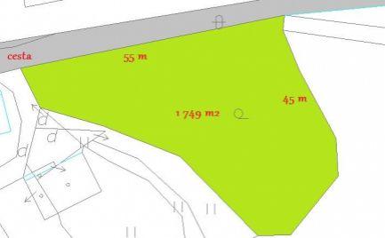 Slnečný stavebný pozemok 1 749  m2,  Banská Bystrica – Cena 74 000€