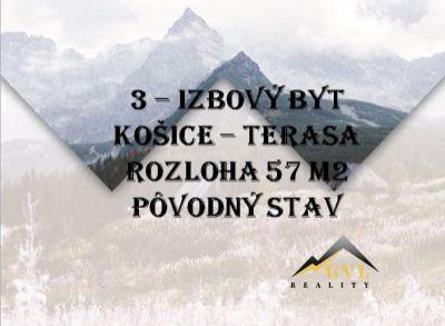 PREDANÉ!! 3-izbový byt v pôvodnom stave, Košice - Terasa, 57 m2.