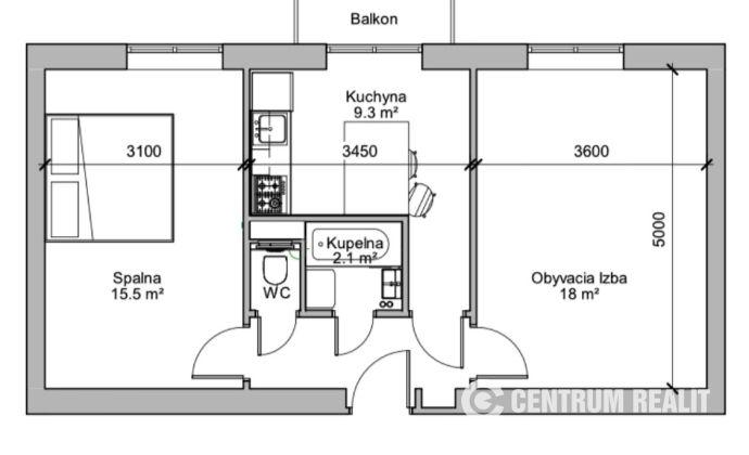 Prenájom: 2 izbový zrekonštruovaný byt s balkónom, Ružinov – Štrkovec