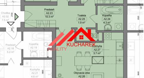 Kuchárek-real: Novostavba -3-izbový byt v Pezinku na Muškáte dvoma balkónmi D5-A-204.