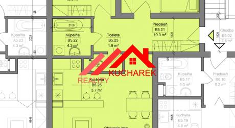 Kuchárek-real: Novostavba -3-izbový byt v Pezinku na Muškáte dvoma balkónmi D5-A-504.