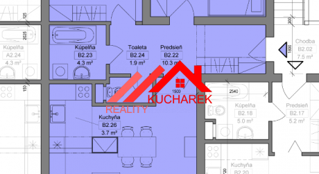 Kuchárek-real: Novostavba -3-izbový byt v Pezinku na Muškáte dvoma balkónmi D5-B-205.