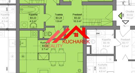 Kuchárek-real: Novostavba -3-izbový byt v Pezinku na Muškáte dvoma balkónmi D5-B-305.