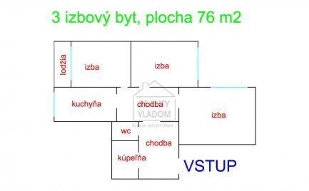 Veľký 3 izbový byt (plocha 76 m2), Švábska ul., Prešov.