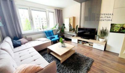 PREDANÉ: na predaj slnečný zrekonštruovaný 3i byt, 3./8p., výťah, loggia, Dlhé diely – tichá časť ul. Hany Meličkovej