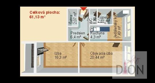 2 izb. byt s lodžiou - pôvodný stav