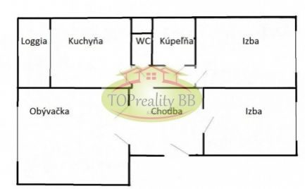 Veľký 3 izbový byt 68 m2, s lodžiou,  17 km od B. Bystrice -  Cena 82 000€